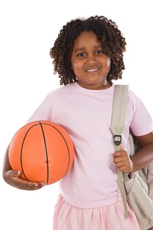 African girl student with basketball and backpack on a white background Stock Photo - 3508017