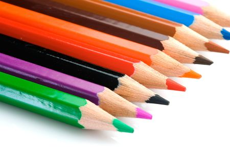 Pencils of many colors aligned with Shallow Depth of Field photo