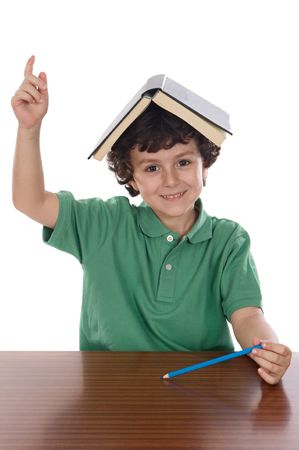 Child with book on her head asking to speak photo