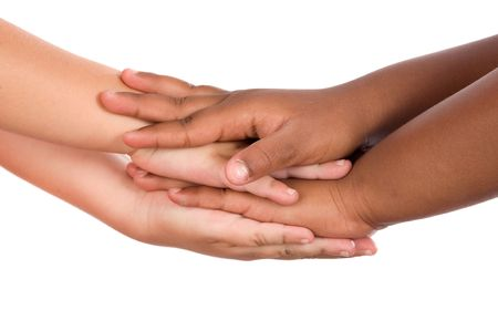 linked together: Handshake between races a over white background Stock Photo