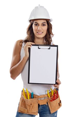 Young Girl with tools for building and a empty poster Stock Photo - 3548339