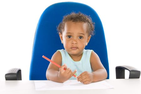 Adorable  student a over white background photo