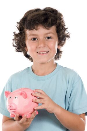 thrift box: Adorable boy with pink piggy bank in his hands a over white background