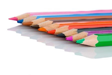 lined up: Colored pencils lined up -Shallow depth of field