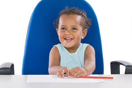 Adorable  student a over white background Stock Photo - 3574028