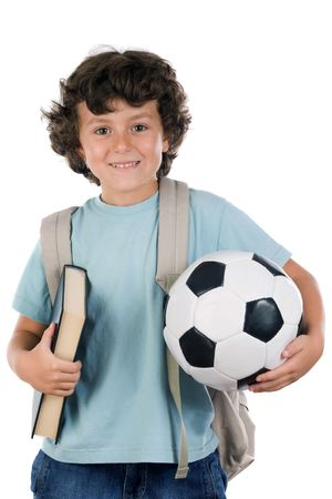 Student boy blond with a soccer ball over white background Stock Photo
