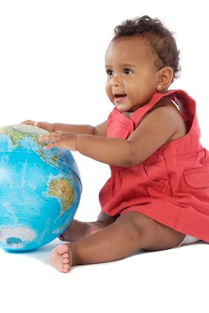 third world: Baby girl with a globe of the world a over white background