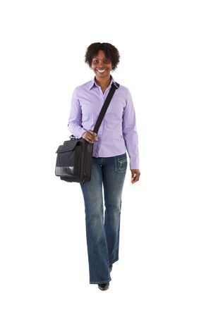 african student: Attractive business woman walking a over white background