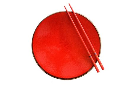Red dish and chopsticks with oriental style on a white background Stock Photo - 3579592