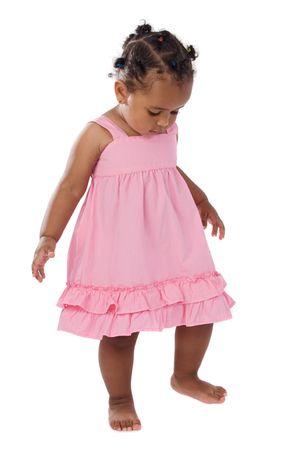 愛らしいピンクを着て上ホワイト バック グラウンド