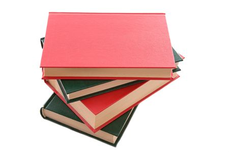 Several books stacked with a hard cover on a white background Stock Photo - 3597309