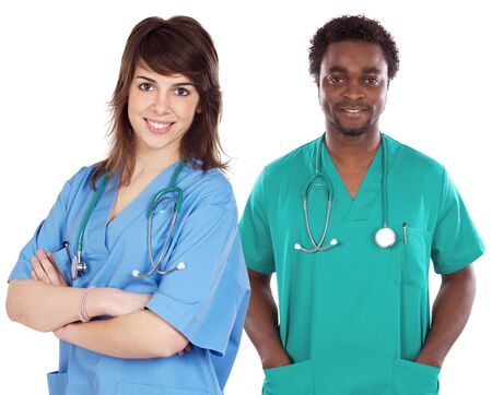 Couple of young doctors a over white background photo