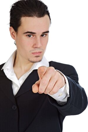 attractive young person businessman indicating with the finger, the center of the center of focus in the hand a over white background Stock Photo - 3602390