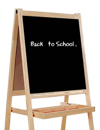Slate written with the words: back to school, a over white Stock Photo - 3613220