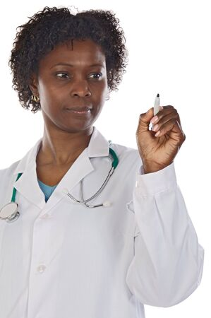 Doctor African American scoring on a white background - focus in the pen - Stock Photo - 3622236