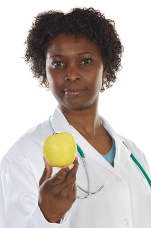 African american woman doctor and apple a over white background photo