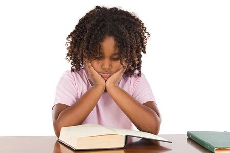 Adorable african girl reading a over white background photo
