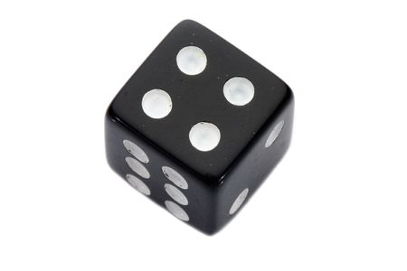 four in one: Black dice with number four a over white background
