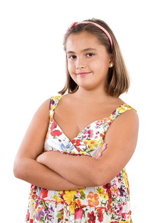 Adorable girl with flowered dress a over white background Stock Photo - 3644192