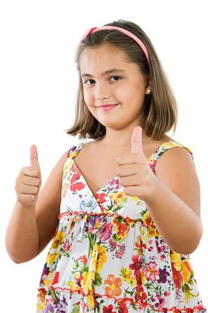 Girl saying ok on a white background Stock Photo - 3644199