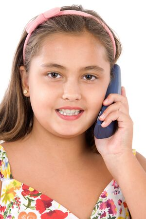 Adorable girl speaking by phone on a over white background Stock Photo - 3644198