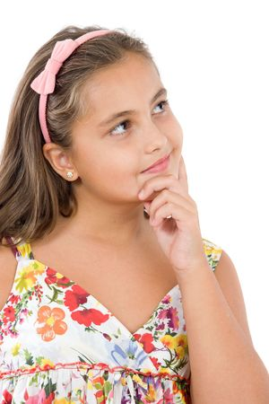 Adorable girl with flowered dress thinking a over white background Stock Photo - 3644195