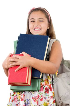 Busy student with many books and backpack on a white background photo