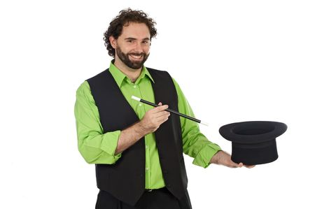 Portrait of a magician with his barite on a over white background Stock Photo - 3644179