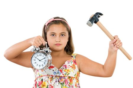 Beautiful girl with clock and hammer a over white background Stock Photo - 3644205