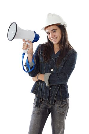 noise isolation: Teenager with a megaphone over white background Stock Photo