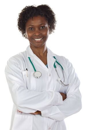 African american woman doctor a over white background photo