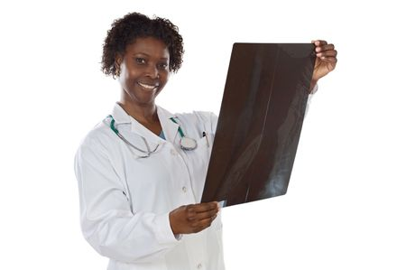 Woman doctor whit radiography a over white background photo