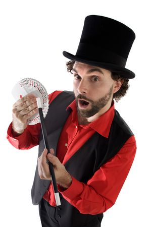 surprised magician doing a trick of letters Stock Photo - 3671891