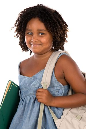 African girl student with folder and backpack on a white background photo