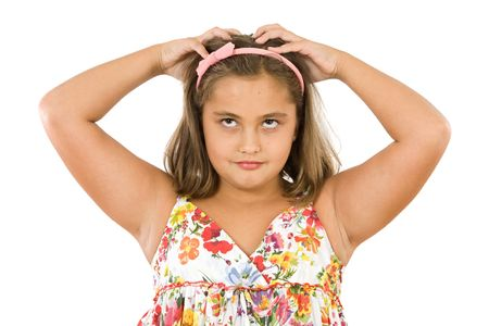 silliness: Gesture of a pretty girl doing silliness Stock Photo