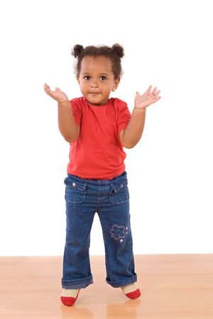 baby hairstyle: Adorable and beautiful african  jumping a over wooden floor