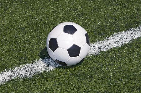 Soccer ball on the line of the field