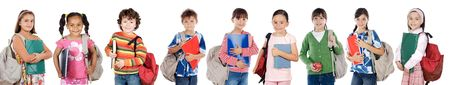 elementary student: Many children students returning to school on a white background