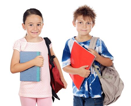 Two children students returning to school on a white  photo