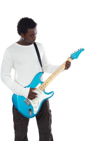 Young boy with electrical guitar a over white background photo