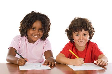 studding: A couple of kids studding over white background