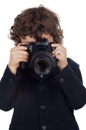 Jongen rekening foto met de camera op een witte achtergrond Stockfoto