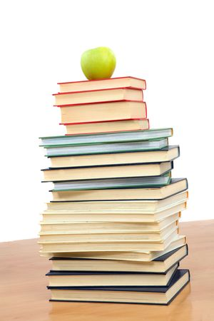 studding: Tower of many books on a white background