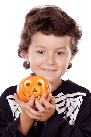 Portrait of boy dressed of skeleton in Halloween photo