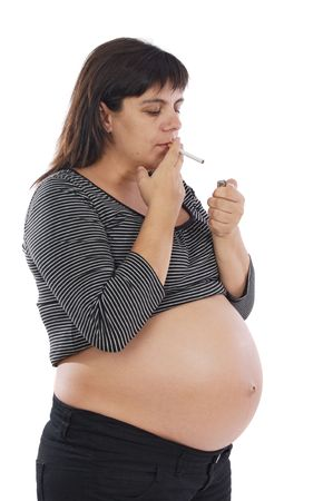 Smoker pregnant on a over white background photo