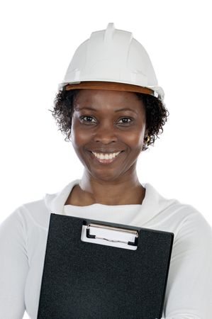 Woman engineer on a over white background photo