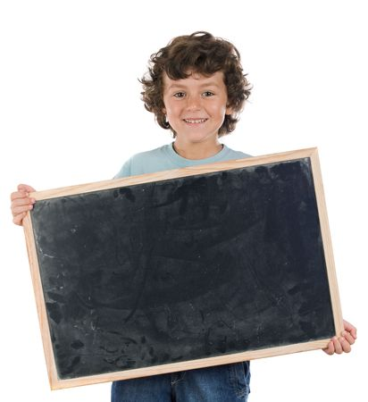 Child with empty slate to put words on a white background photo