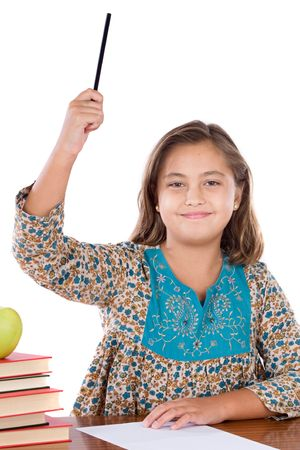 Adorable girl student asking to speak in the school on a over white background Stock Photo - 3780985