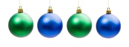 Four balls of christmas on a over white background photo