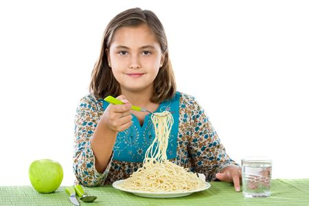 Precious girl eating spaghetti on a white background Stock Photo - 3817872
